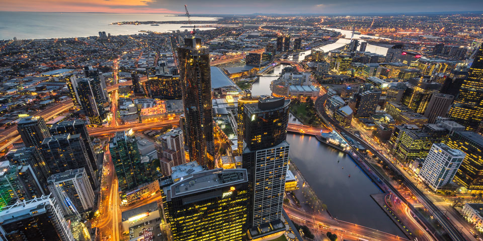 A view of Melbourne from a skyscraper