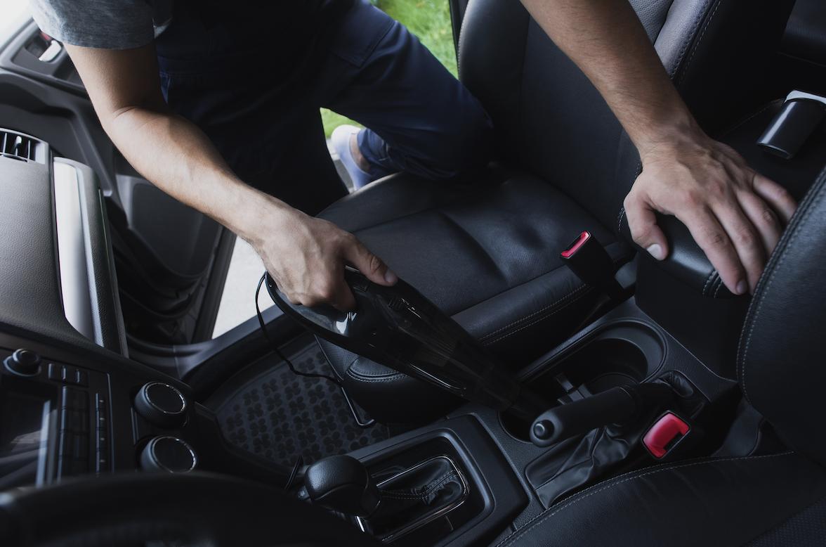 Interior car detailing black leather.