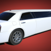 A white Chrysler Limo on a red backdrop.